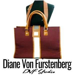 DVF STUDIO Burgundy/Tan XL Tote Handbag